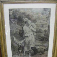 Arte: DIBUJO A LÁPIZ CARBONCILLO FRANCÉS DEL SIGLO XIX. Lote 53747613