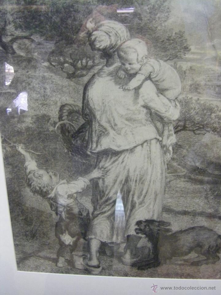 Arte: dibujo a lápiz carboncillo francés del siglo XIX - Foto 3 - 53747613