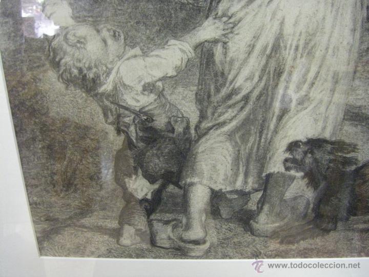 Arte: dibujo a lápiz carboncillo francés del siglo XIX - Foto 6 - 53747613
