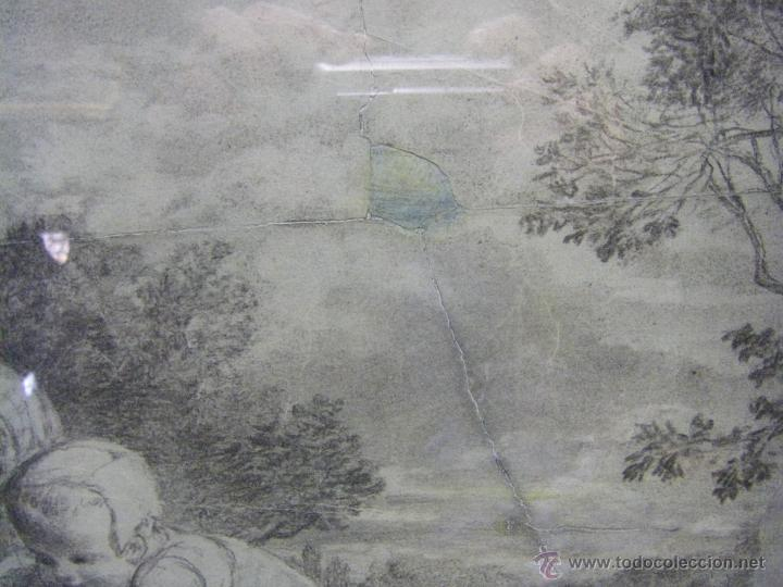 Arte: dibujo a lápiz carboncillo francés del siglo XIX - Foto 7 - 53747613