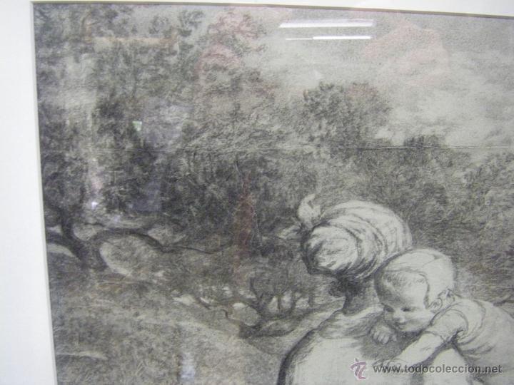 Arte: dibujo a lápiz carboncillo francés del siglo XIX - Foto 9 - 53747613