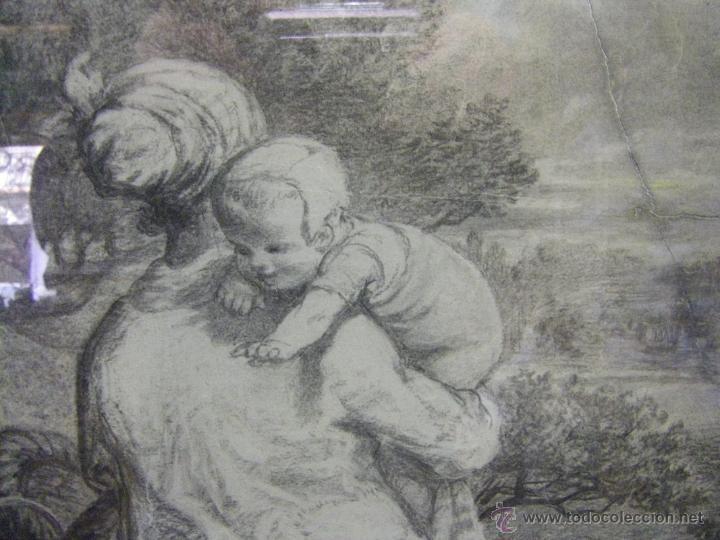 Arte: dibujo a lápiz carboncillo francés del siglo XIX - Foto 11 - 53747613