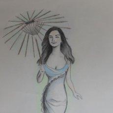Arte: MUJER CON SOMBRILLA OBRA DE GILABERTE. Lote 53763685