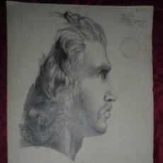 Arte: MAGNIFICO DIBUJO ANTIGUO A CARBONCILLO ESCUELA CATALANA,FECHADO 1902,FIRMADO ENRIC JORBA. Lote 53765845