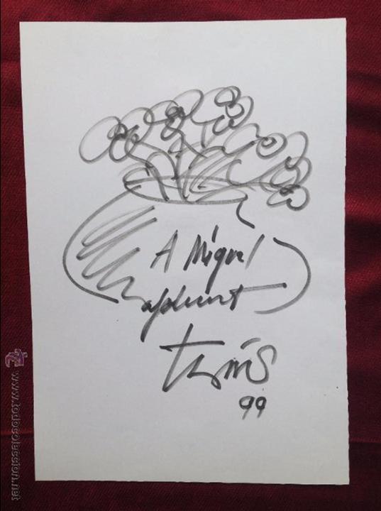 THARRATS VIDAL, JOAN-JOSEP (GERONA, 1918-BARCELONA, 2001). ROTULADOR. 28'5X19'8 CMTRS. DEDICADO.1999 (Arte - Dibujos - Contemporáneos siglo XX)