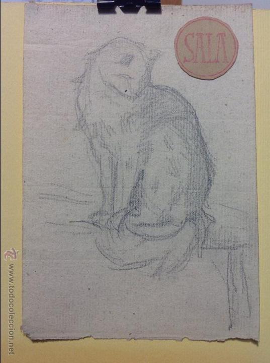 EMILIO SALA. EL GATO. (Arte - Dibujos - Modernos siglo XIX)