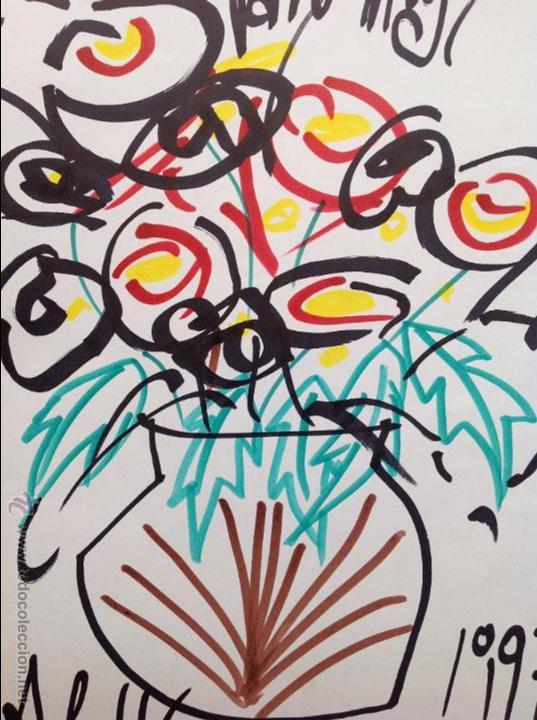 Arte: Juan Abelló Prat (Mollet del Vallés 1922-Barcelona 2008). Rotulador. 32x22 cmtrs.Dedicado. 1997. - Foto 3 - 53802498