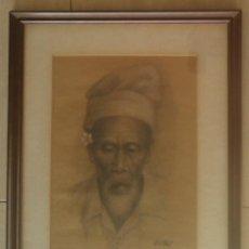 Arte: HUANG FONG (INDONESIA, 1936-2004) - CARBON Y PASTEL ENMARCADO 53,5 X 43,5. Lote 53826725