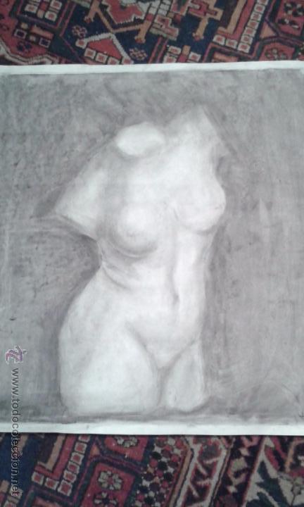 DIBUJO A CARBONCILLO. ACADEMIA. BUSTO FEMENINO. TAMAÑO CARTULINA. CALIDAD.OCASION . SIGLO XIX (Arte - Dibujos - Modernos siglo XIX)