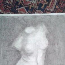Arte: DIBUJO A CARBONCILLO. ACADEMIA. BUSTO FEMENINO. TAMAÑO CARTULINA. CALIDAD.OCASION . SIGLO XIX. Lote 53850276