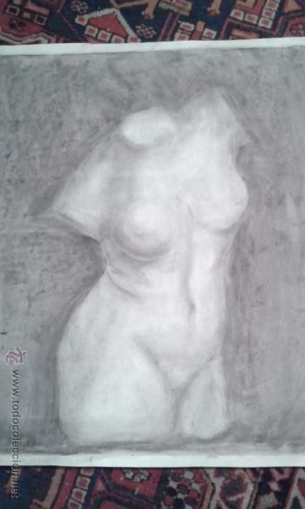 Arte: DIBUJO A CARBONCILLO. ACADEMIA. BUSTO FEMENINO. TAMAÑO CARTULINA. CALIDAD.OCASION . SIGLO XIX - Foto 2 - 53850276