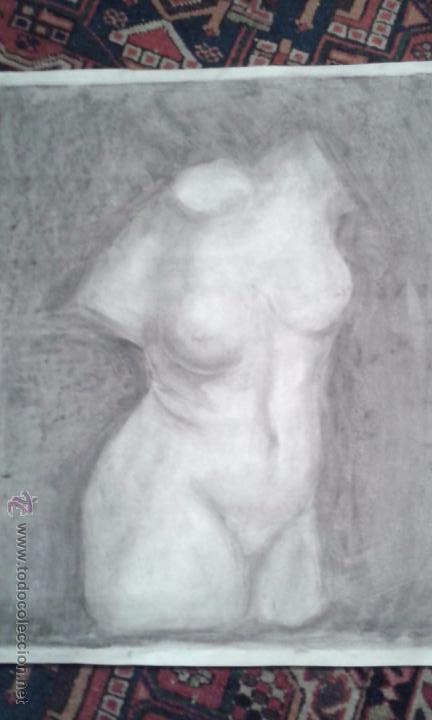 Arte: DIBUJO A CARBONCILLO. ACADEMIA. BUSTO FEMENINO. TAMAÑO CARTULINA. CALIDAD.OCASION . SIGLO XIX - Foto 3 - 53850276