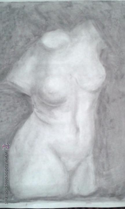 Arte: DIBUJO A CARBONCILLO. ACADEMIA. BUSTO FEMENINO. TAMAÑO CARTULINA. CALIDAD.OCASION . SIGLO XIX - Foto 4 - 53850276