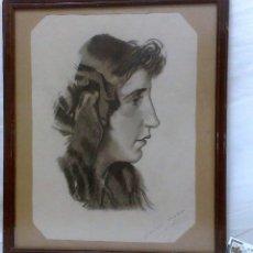 Arte: SIGLO XIX-XX.- FIRMADO.- CARMEN GUIJARRO. DIBUJO AL CARBONCILLO.. Lote 31394083