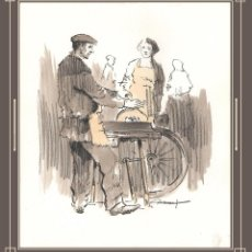 Arte: RAFAEL GARRICH. PINTOR DE L'HOSPITALET. EL AFILADOR, DIBUJO A TINTA Y ACUARELA. 25 CM X 21,5 CM. Lote 53874993