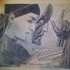Arte: JEUGD EN OUDERDOM - COPIA A LAPIZ Y CARBONCILLO - AÑOS 40 - FIRMADO M.T. Lote 53899193