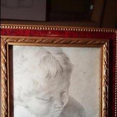 Arte: ANTIGUO DIBUJO HECHO A LAPIZ O CARBONCILLO, ENMARCADO, NIÑO. Lote 54019207
