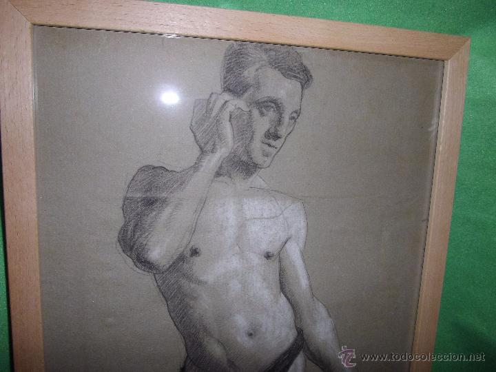 EXCELENTE DIBUJO HOMBRE ELEGANTE LANZADOR JABALINA INGLATERRA LAPIZ ART DECO MODERNISTA XIX BAUHAUS (Arte - Dibujos - Modernos siglo XIX)