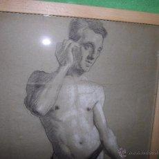 Arte: EXCELENTE DIBUJO HOMBRE ELEGANTE LANZADOR JABALINA INGLATERRA LAPIZ ART DECO MODERNISTA XIX BAUHAUS. Lote 54163518