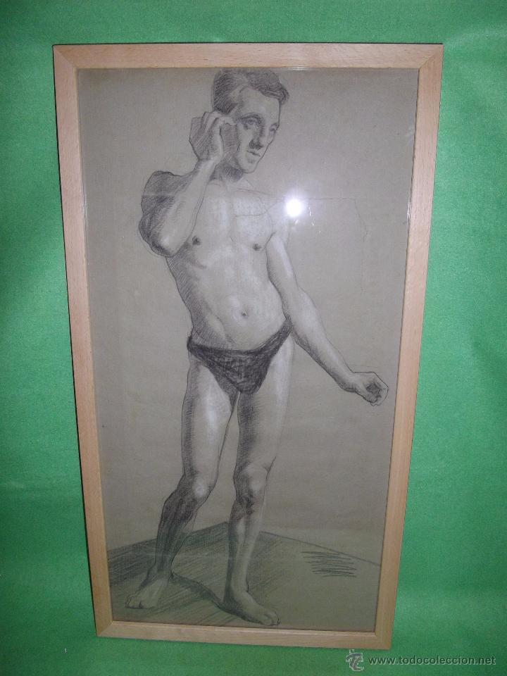 Arte: EXCELENTE DIBUJO HOMBRE ELEGANTE LANZADOR JABALINA INGLATERRA LAPIZ ART DECO MODERNISTA XIX BAUHAUS - Foto 2 - 54163518