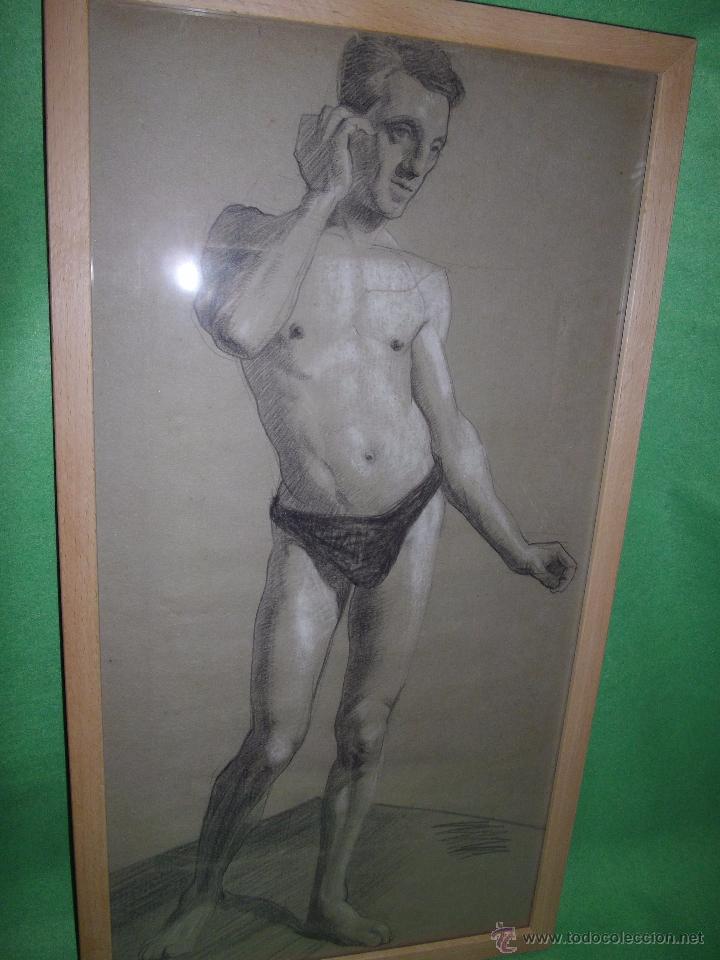 Arte: EXCELENTE DIBUJO HOMBRE ELEGANTE LANZADOR JABALINA INGLATERRA LAPIZ ART DECO MODERNISTA XIX BAUHAUS - Foto 3 - 54163518