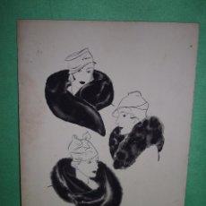 Arte: BELLO DIBUJO ILUSTRACION TINTA AGUADA ORIGINAL AÑOS 20 DAMAS ART DECO SOMBRERO ESTOLAS PIEL. Lote 54185444