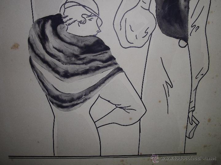 Arte: ELEGANTE DIBUJO ILUSTRACION TINTA AGUADA ORIGINAL AÑOS 20 DAMAS ART DECO SOMBRERO PIELES MODERNISTA - Foto 3 - 54185525