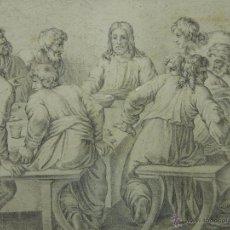 Arte: EXCEPCIONAL DIBUJO A LÁPIZ SOBRE PAPEL. REPRESENTANDO LA ÚLTIMA CENA. SIGLO XVIII, O ANTERIOR. CENTR. Lote 55101691