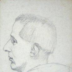 Arte: EXCELENTE RETRATO ORIGINAL A LAPIZ DE UN MONJE, FIRMADO Y FECHADO, 35 X 25 CM. Lote 54262669