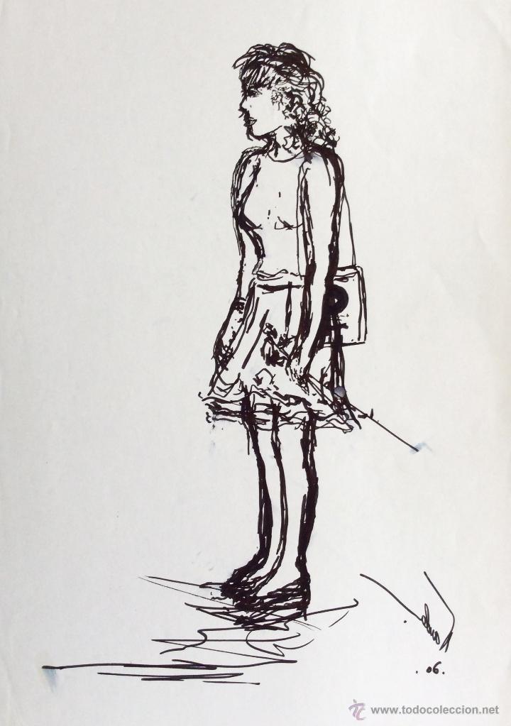 DIBUJO ORIGINAL DE NANDA BOTELLA 29.5X21CM. ESTA EN PERFECTO ESTADO, (Arte - Dibujos - Contemporáneos siglo XX)