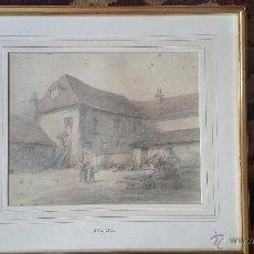 Arte: DIBUJO COLOREADO CON ACUARELA. PATIO DE GRANJA. HOLMES EDWIN CORNELIUS WINTER (BRITÁNICO, 1851-1935). Lote 54298613