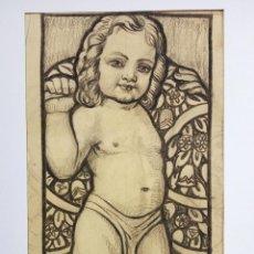 Arte: MARAVILLOSO DIBUJO ORIGINAL A CARBONCILLO, FIRMADO Y FECHADO 1897, ART NOUVEAU, 49 X 25 CM. Lote 54407448