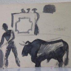 Arte: JORDI CURÓS. LÁPIZ Y ACUARELA O TINTA. TOROS. Lote 54431652