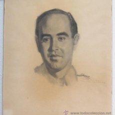 Arte: RETRATO A LÁPIZ SOBRE PAPEL. FIRMADO ORDIÑANA. FECHADO EN 1948. DEDICADO. Lote 54432852