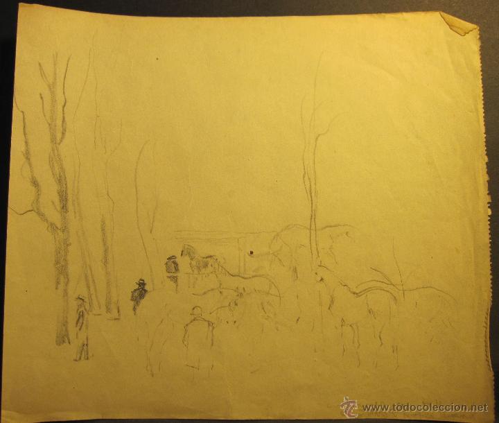 Arte: PERE YNGLADA SALLENT. TRES DIBUJO A LÁPIZ. CABALLOS. 21 X 17 CM / 18 x 20 CM - Foto 3 - 54511952