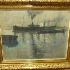 Arte: ESPECTACULAR VISTA PORTUARIA DEL ARTISTA MADRILEÑO PEDRO RIBERA (1867-1932). Lote 54693802