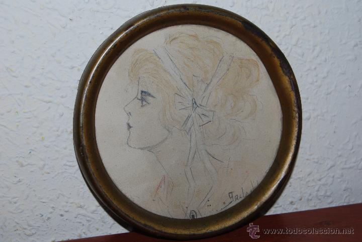 DIBUJO ORIGINAL A LÁPIZ - RETRATO FEMENINO - PERFIL DE MUJER - FIRMADO - INGLATERRA PRINCIPIOS S.XX (Arte - Dibujos - Contemporáneos siglo XX)