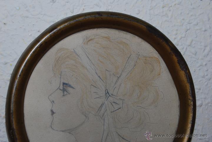 Arte: DIBUJO ORIGINAL A LÁPIZ - RETRATO FEMENINO - PERFIL DE MUJER - FIRMADO - INGLATERRA PRINCIPIOS S.XX - Foto 2 - 54774959