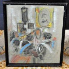 Arte: ANÓNIMO DE LOS AÑOS 60. DIBUJO A PASTEL SOBRE PAPEL. INTERIOR CON PERSONAJES. Lote 54779871