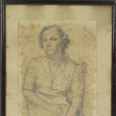 Arte: B2-114. RETRATO. DIBUJO AL CARBON SOBRE PAPEL. JOAN PALET. 1942.. Lote 54345264