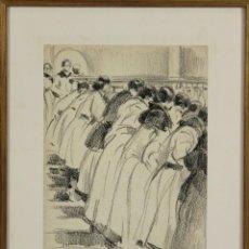 Arte: B3-087. PERSONAJES. DIBUJO AL CARBON SOBRE PAPEL. NICANOR VAZQUEZ UBACH.1923.. Lote 53321216