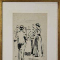 Arte: B3-093. PERSONAJES. DIBUJO AL CARBON. NICANOR VAZQUEZ UBACH. SIGLO XX.. Lote 53332646