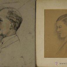 Arte: N3-009. PAREJA DE RETRATOS. DIBUJOS AL CARBON SOBRE PAPEL. MD. 1921-1923.. Lote 52572380