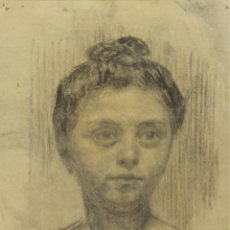Kunst - N5-054. RETRATO DE MUJER. DIBUJO AL CARBON. FIRMADO MARTI I GRAS. SIGLO XX. - 50512294