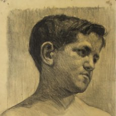 Arte: N5-055. RETRATO DE JOVEN. DIBUJO AL CARBON. FIRMADO MARTI I GRAS. SIGLO XX.. Lote 50512514