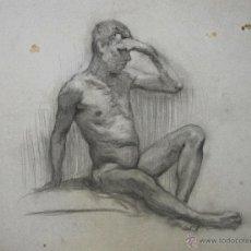 Arte: N5-062. DESNUDO MASCULINO. DIBUJO AL CARBON. ESCUELA CATALANA. SIGLO XIX.. Lote 50528030