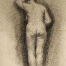 Arte: N5-071. DESNUDO FEMENINO. DIBUJO AL CARBON. ESCUELA CATALANA. SIGLO XIX.. Lote 50530277