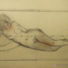Arte: N5-072. MUJER DESNUDA. DIBUJO AL CARBON. ESCUELA CATALANA. SIGLO XIX.. Lote 50530477