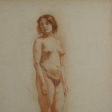 Arte: N5-085. MUJER DESNUDA. DIBUJO AL PASTEL. ESCUELA CATALANA. SIGLO XIX.. Lote 50543571