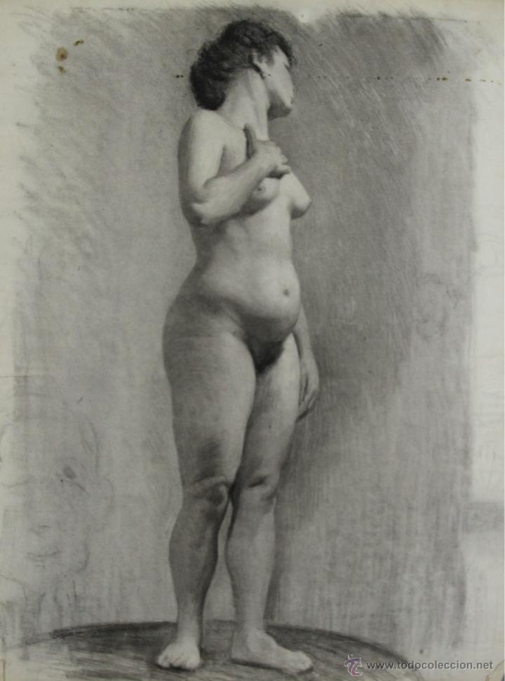 N5 087 Mujer Desnuda Dibujo Al Carbon Escuel Vendido En Subasta